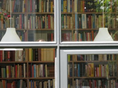 boekenkast door glas schrijver 2